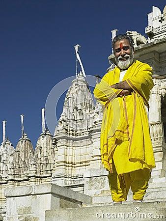 Jain Temple priest - Ranakpur - India Editorial Stock Photo