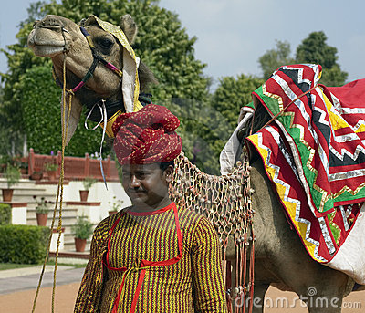 Jaipur - Indian man with camel Editorial Stock Image