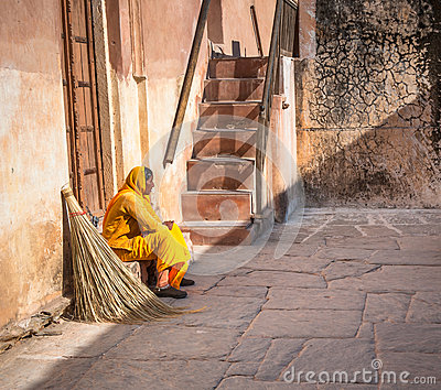 JAIPUR, RAJASTAN, INDIA - January, 27: Cleaning woman in Amber F Editorial Photography