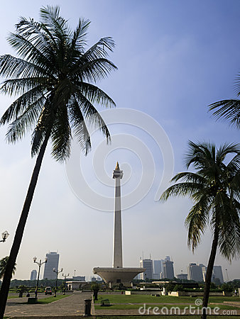 Jakarta, Indonesia: Merdeka Square view of Jakarta skyline and National Monument