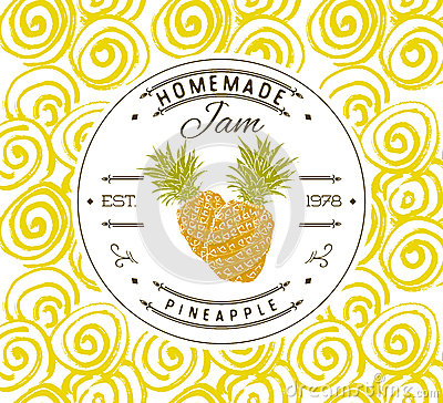 jam label design template for pineapple dessert product with hand