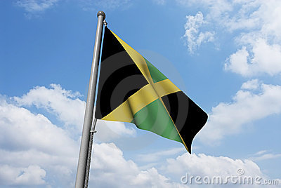Jamaica Flag with Clouds