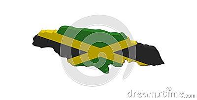 Jamaica map flag 3d render