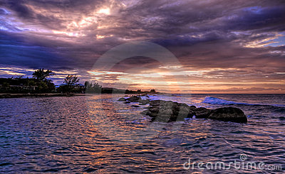 Jamaican sunset and rocks (HDR)
