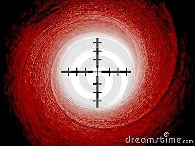 James bond gun barrel with crosshair sights