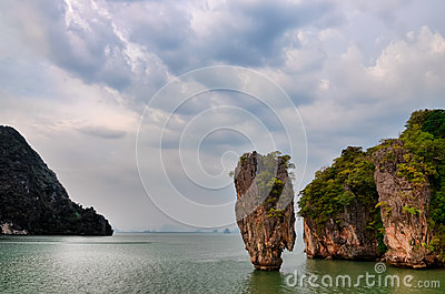 James Bond island ocean view with cloudy sky in Phang Nga bay, A