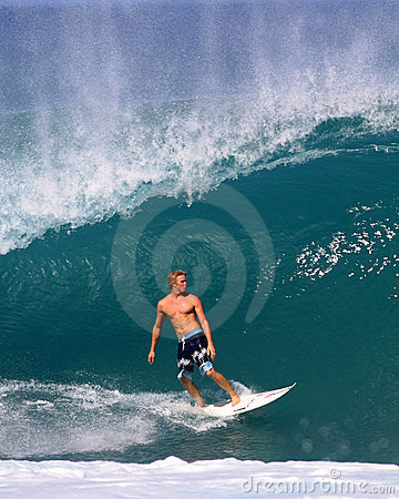 Jamie O brien Surfing a Wave at Pipeline Hawaii Editorial Image