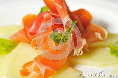 Jamon ham with melon