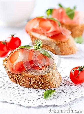Bread with Spanish Serrano Ham