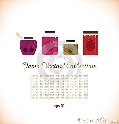 Jams  collection. Strawberry jam. Red raspberry ja