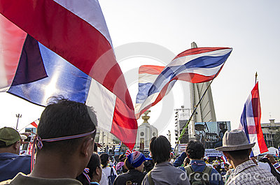 Jan 5, 2014: Anti-government protesters at Democra Editorial Stock Photo