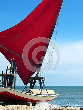 Free Jangada Small Sailboat On The Beach, Brazil Stock Photo - 15992730