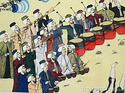Janissary band performing,  Ottoman painting