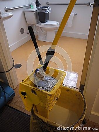 Janitor: clean bathroom floor