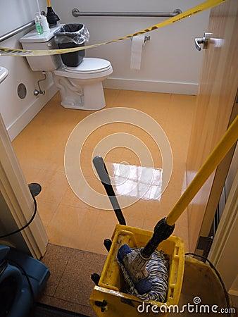 Janitor: waxed bathroom floor