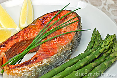 Jantar do bife salmon de Sockeye