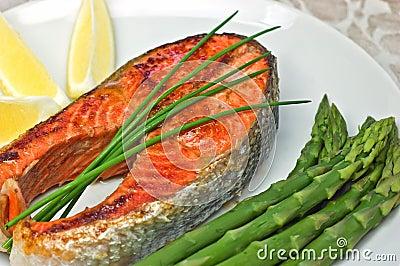 Jantar do bife salmon de Sockeye