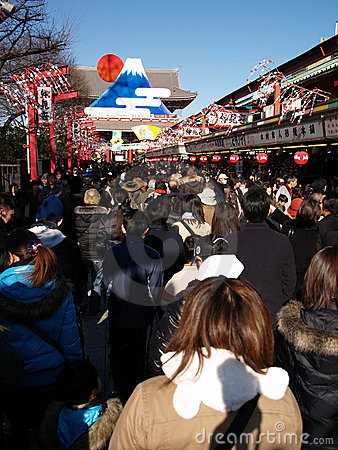 January 09: Christmas time in a temple in Asakusa Editorial Image