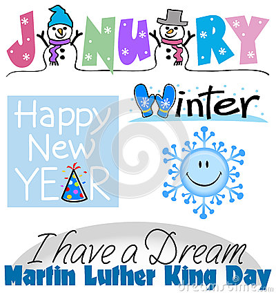 January Events Clip Art Set
