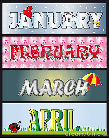 Free January February March April Royalty Free Stock Photo - 11180675