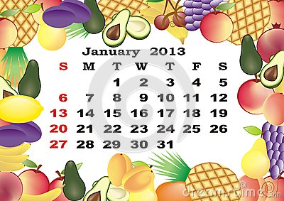 January - monthly calendar 2013