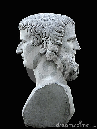 Free Janus Sculpture On A Black Background Royalty Free Stock Image - 61985356