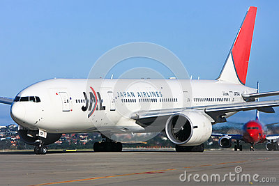 Japan Airlines jet airliner on runway Editorial Image