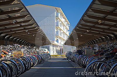 Japan bicycle parking lot Editorial Stock Image