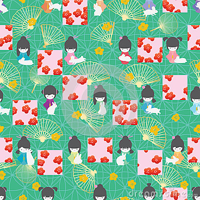 Free Japan Doll Rabbit Symmetry Square Sakura Style Seamless Pattern Royalty Free Stock Photos - 94330848