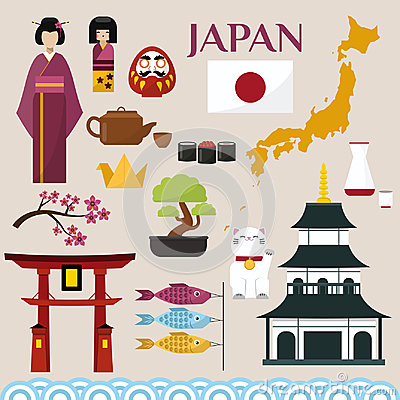 Free Japan Famouse Culture Architecture Buildings And Japanese Traditional Food Vector Icons Illustration Of Travel Vacation Stock Photos - 94788633