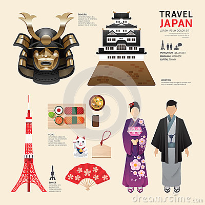 Free Japan Flat Icons Design Travel Concept.Vector Royalty Free Stock Photography - 51396037
