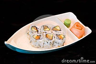 Japan food maki on boat