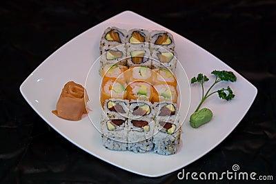 Japan food maki on plate