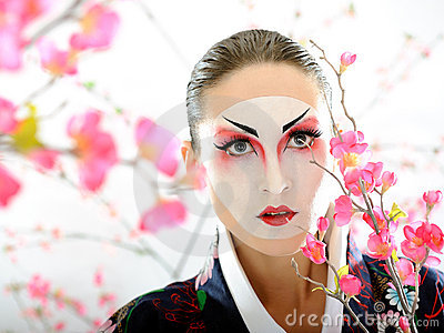 Japan geisha woman with creative make-up