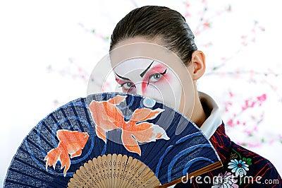 Japan geisha woman with creative make-up