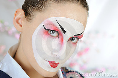Japan geisha woman with creative make-up.