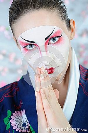 Japan geisha woman with creative make-up.