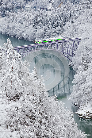 Free Japan Mountain And Snow With Local Train Stock Photo - 84311970