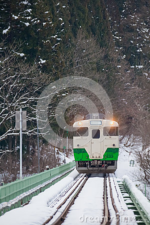 Free Japan Mountain And Snow With Local Train Royalty Free Stock Photos - 87701488
