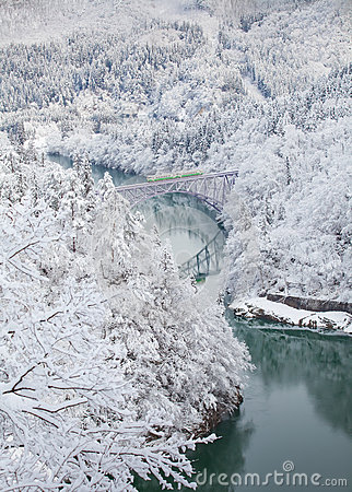 Free Japan Mountain And Snow With Local Train Royalty Free Stock Photos - 87701518
