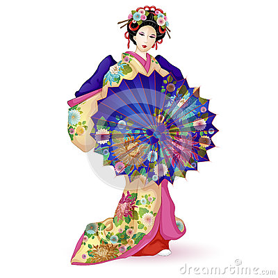 Free Japan National Doll Hina Ningyo In A Blue Kimono With An Umbrella. Umbrella And Kimono Decorated With A Pattern With Chrysanthemum Stock Photo - 88555130