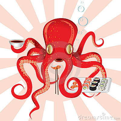 Japan octopus sushi feast