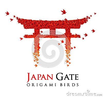 Japan origami gate Torii