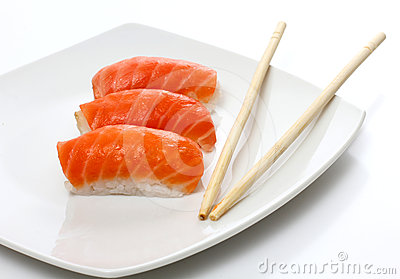 Japan sushi on white plate