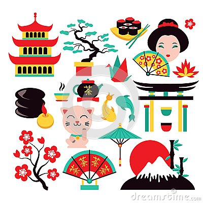 Free Japan Symbols Set Royalty Free Stock Image - 44303106