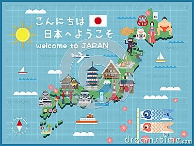 Japan Travel Map RoyaltyFree Stock Photo CartoonDealercom - Japan map free