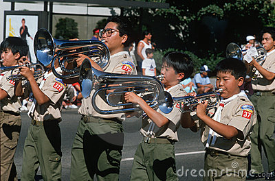 Japanese American Boy Scouts playing instruments Editorial Image