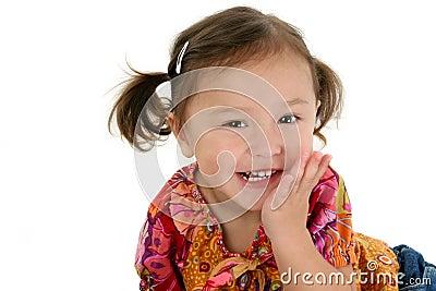Japanese American Toddler Girl Laughing