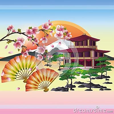 Japanese background with sakura - cherry tree Vector Illustration
