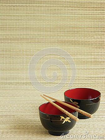Japanese bowls with chopsticks